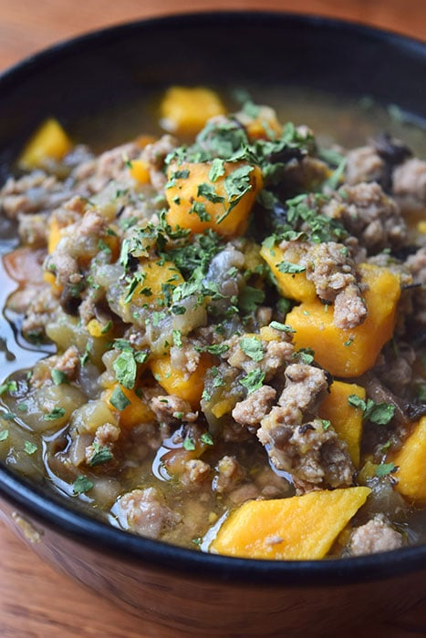 Bowl of Turkey Chili with Sweet Potato, Eggplant and Mushrooms