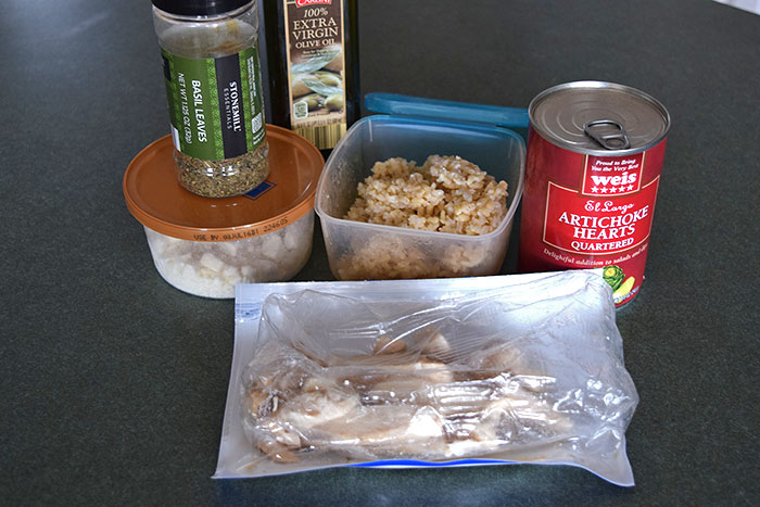 Brown Rice and Artichoke Bowl with Chicken and Feta Ingredients
