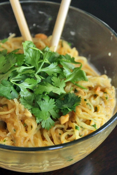 "Spicy ""Noodle"" bowl with Peanuts and Cilantro"