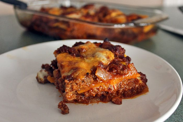 Slice of Chipotle Beef and Butternut Bake