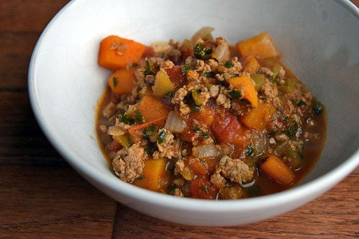 Bowl of Ground Turkey and Butternut Squash Chili