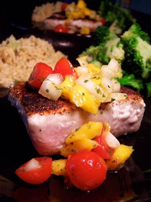 Blackened Ahi Tuna with Simple Mango Salsa