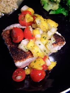 Blackened Ahi Tuna with Simple Mango Salsa top view