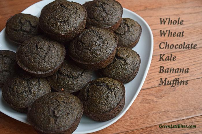 Plate of Whole Wheat Chocolate Kale Banana Muffins