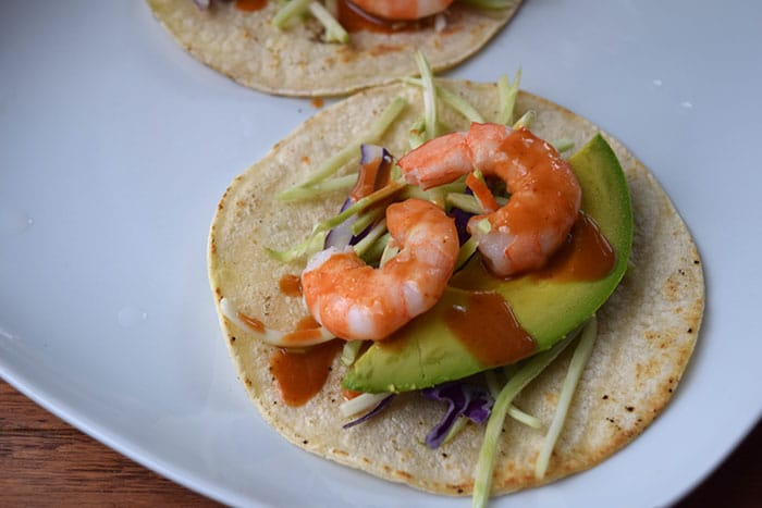 Finished Shrimp Tacos with Peanut Sauce