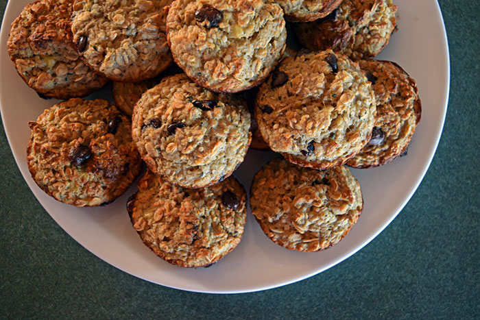 plate of Updated Banana Oat Cups with Flax and Hemp Hearts
