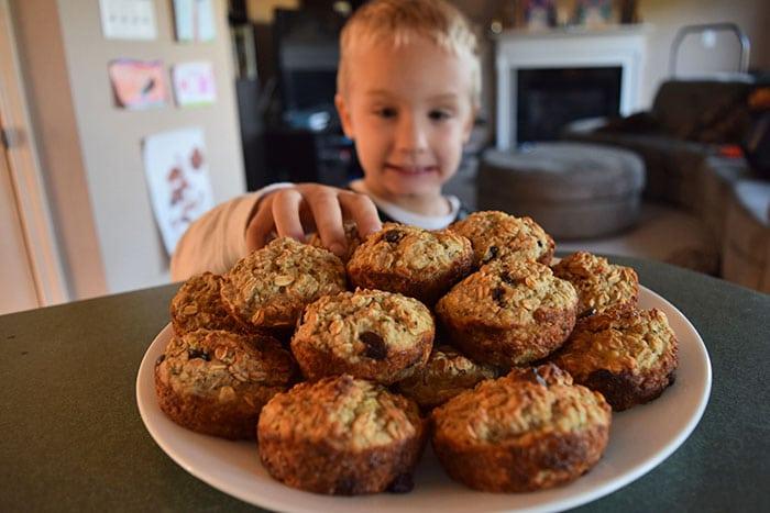 Evan grabbing a muffin
