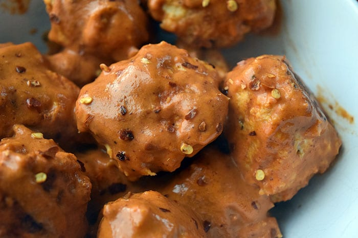 "Whole30 Chicken Meatballs with Spicy ""Peanut"" Sauce"