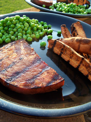 Grilled Ham Steaks with Sweet Potatoes