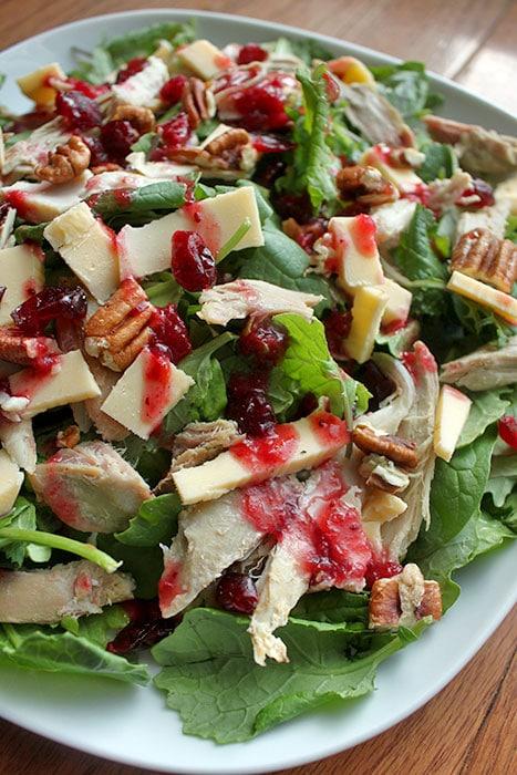 Turkey, Pecan and Gouda Salad with Cranberry Sauce Dressing