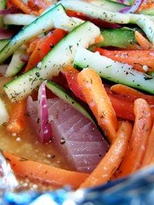 Mahi Mahi with Fresh Veggies and Quinoa before