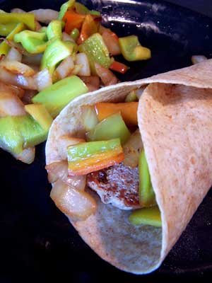 Overstuffed Sausage and Pepper Wrap