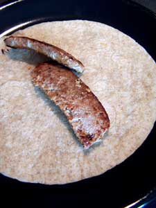 Overstuffed Sausage and Pepper Wrap - the sausage