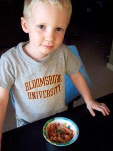 Toddler eating turk-a-roni 2