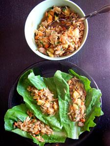 Asian Inspired Turkey Orzo Lettuce Wraps overhead
