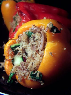 Leftover Turkey and Couscous Stuffed Peppers