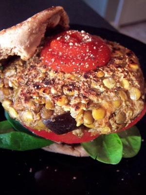 "Lentil and Eggplant ""Burgers"""