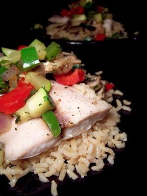 Mahi Mahi with Sautéed Vegetables over Brown Rice