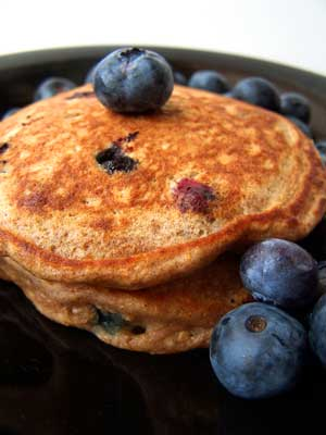 100% 100 grain pancakes with blueberries