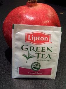 pomegranate and tea bag