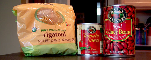 Quick (I mean REALLY quick) Pasta & Beans Ingredients