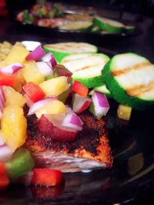 Salmon with Chili Powder and Fruit Salsa