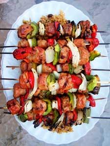 Sausage & Pepper Skewers tray