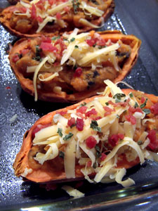Simple Savory Stuffed Sweet Potatoes Before