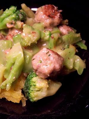 Mini Turkey Balls & Broccoli over Speghetti Squash