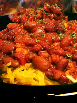 Vegetarian Chili over Spaghetti Squash