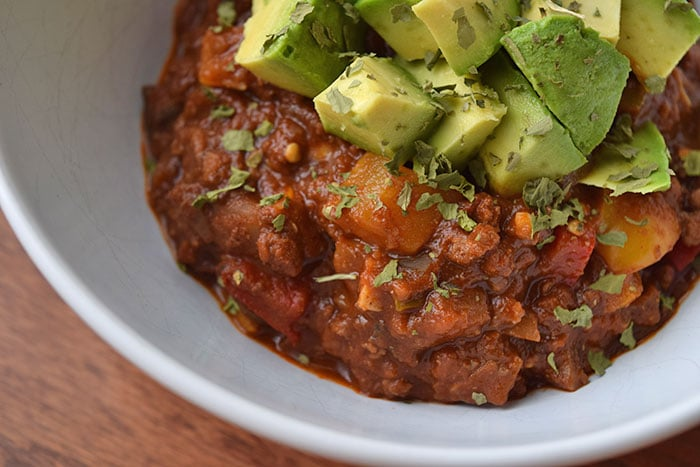 Veggie filled beef chili