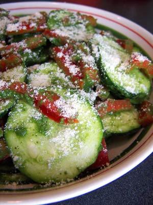 "Zucchini & Red Pepper Salad with Spinach ""Pesto"""
