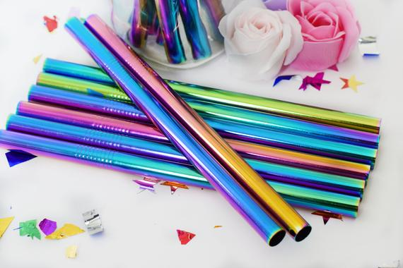 Reusable Metal Straws Rainbow Stainless Steel 12x215mm | Etsy