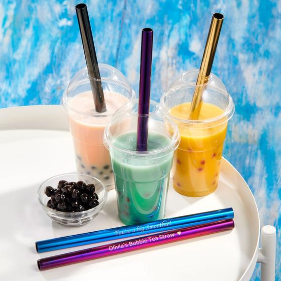 Personalised Milkshake Smoothie Bubble Tea Straws Stainless | Etsy