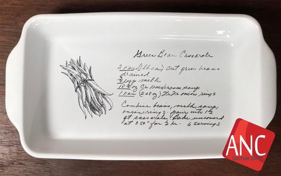 Personalized casserole pan Hand written lasagna recipe | Etsy