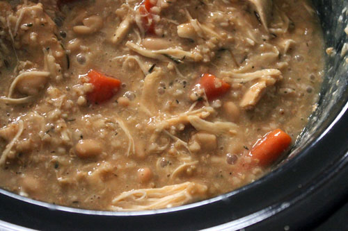 Savory Oat Stew with Chicken and Northern Beans