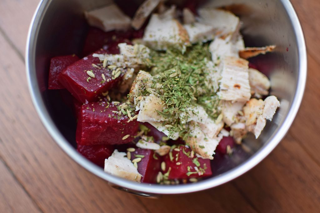 2-Minute Chicken and Beets Prep photo
