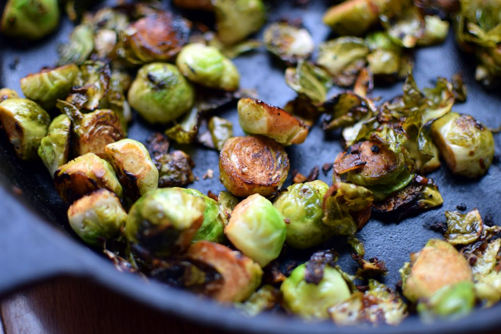 Skillet Brussels Sprouts with Garlic and Balsamic