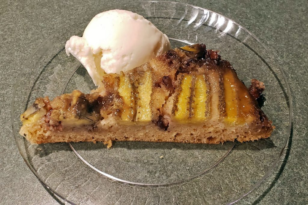 Date Night In - Slice of Banana Fosters Upside Down Cake