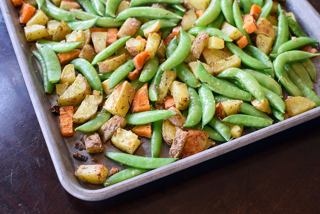 Roasted Potatoes and Snap Peas with Garlic and Lemon