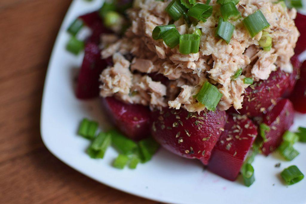 Spring Tuna Salad Over Beets