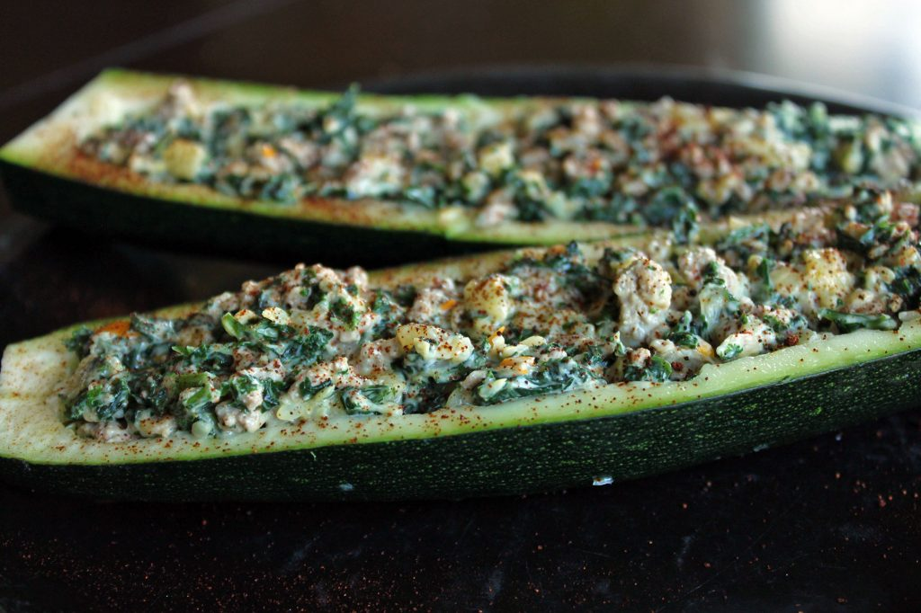 Cheesy Kale and Turkey stuffed Zucchini Boats