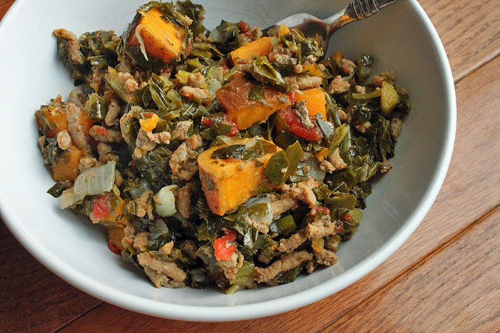 Ground Turkey With Collard Greens and Sweet Potatoes
