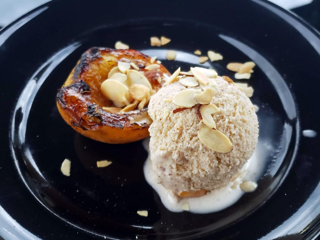 Grilled Rum-Soaked Peaches with Cinnamon Rum Ice Cream