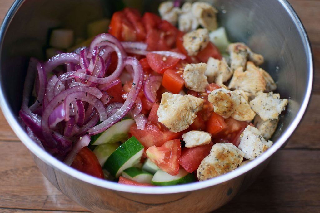 Garden Salad with Quick Pickled Onion and Grilled Chicken - prep