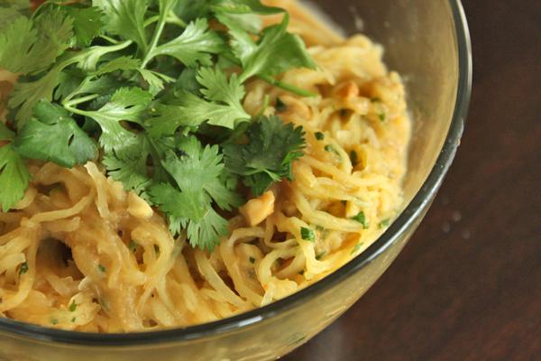 Spicy 'Noodle' (aka Spaghetti Squash) Bowl With Peanuts and Cilantro - Close Up
