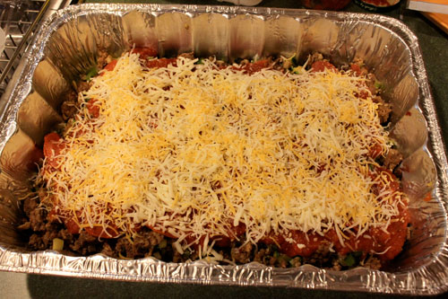 Deep Dish Crescent Pizza Casserole - layering step 4