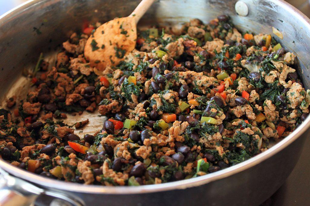 Kale, Turkey and Black Bean Taco Filling
