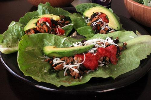 Kale, Turkey and Black Bean Taco Filling - Lettuce Wraps