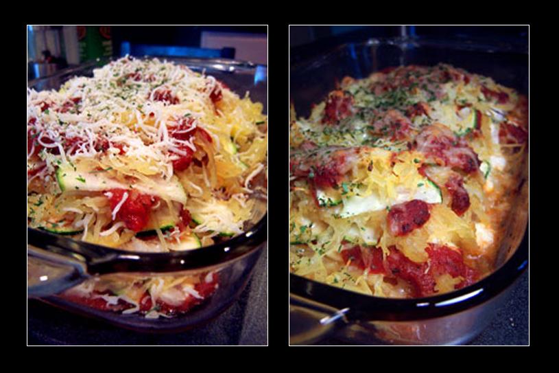 "Zucchini and Spaghetti Squash ""Lasagna"" - Before and After"